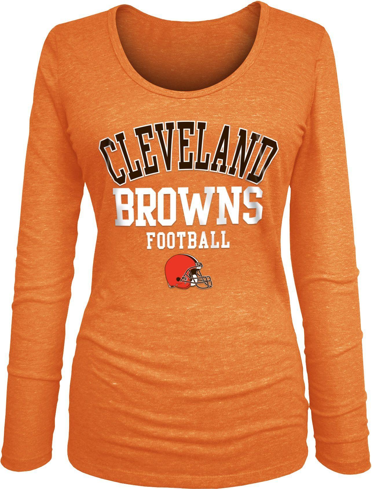 e1002936 Team Apparel Women's Cleveland Tri-Blend Football Orange Long Sleeve ...