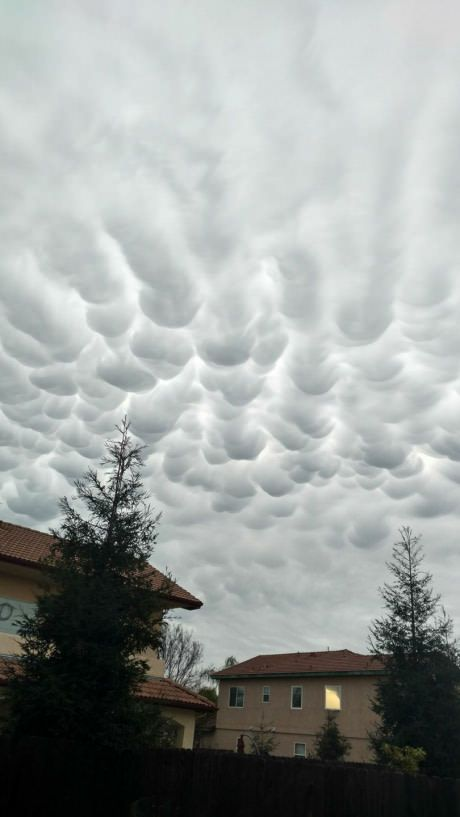 Weird clouds from the storm today in Fresno, CA