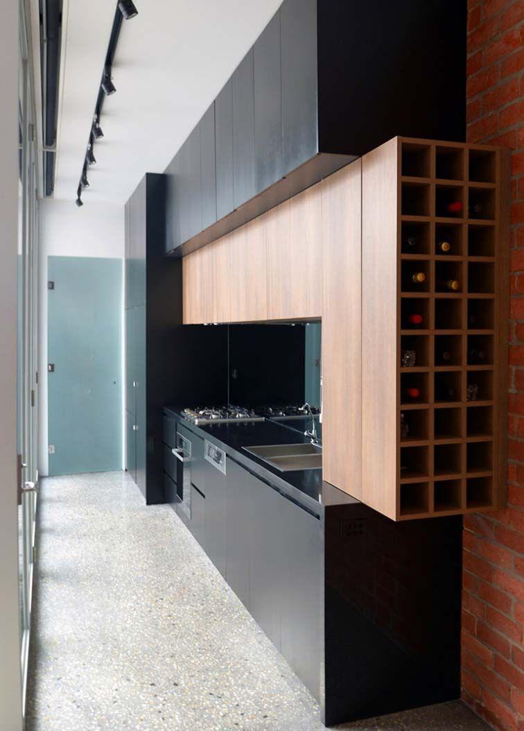 Cocina Con Botellero Construcci N En Seco Ideas Para Reformar  # Muebles Botelleros Para Salon