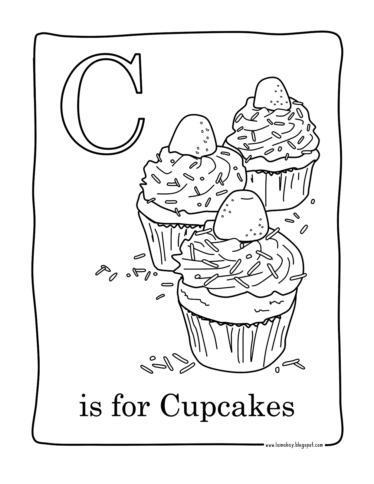Free coloring page coloring-facile-cupcakes. Quite easy coloring ...