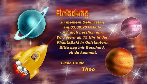 Originelle Einladung Zum Kindergeburtstag Raumschiff / Weltall # Einladungskarte #Einladung #Kindergeburtstag