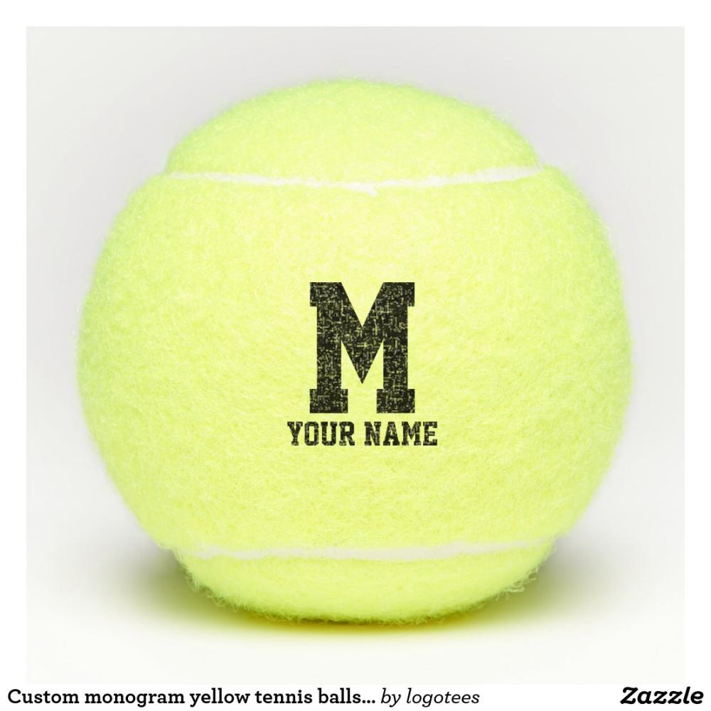 Custom Monogram Yellow Tennis Balls With Name Zazzle Com In 2020 Tennis Balls Tennis Custom Monogram