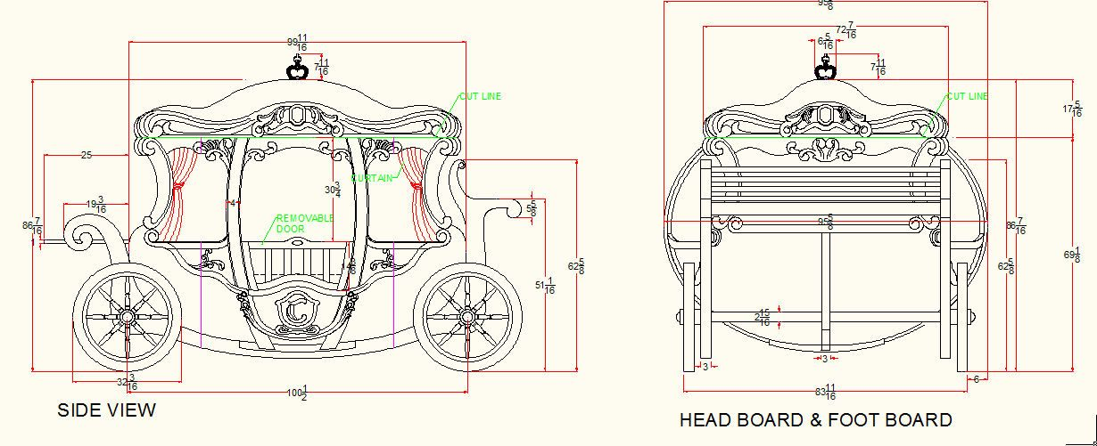 Plans for a carriage bed, could be modified to carriage