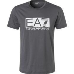 Ea7 Tshirt Herren, Baumwolle, grau Armani