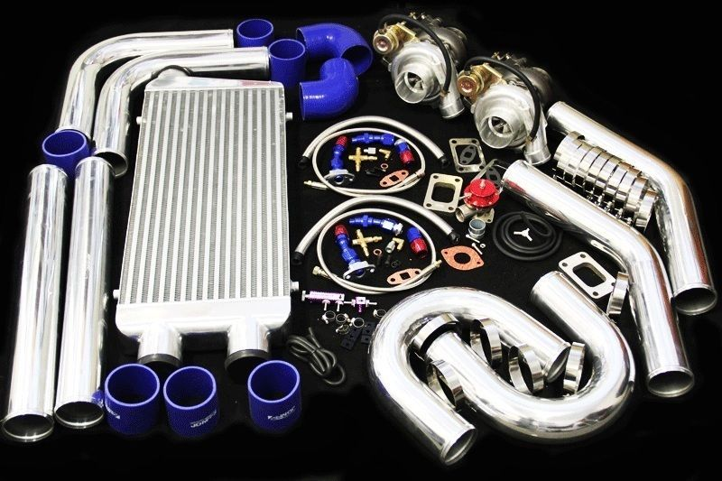 Universal diy custom t3/t4 twin turbo charger piping kit