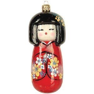 Japanese Koleshi Doll Polish Glass Christmas Ornament Kokeshi Dolls Christmas Decorations Ornaments Christmas Ornaments
