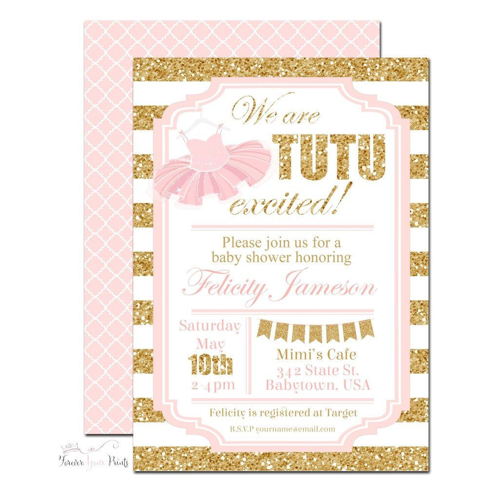 Pink and Gold Tutu Baby Shower Invitation -TB004 | Ballerina Party ...