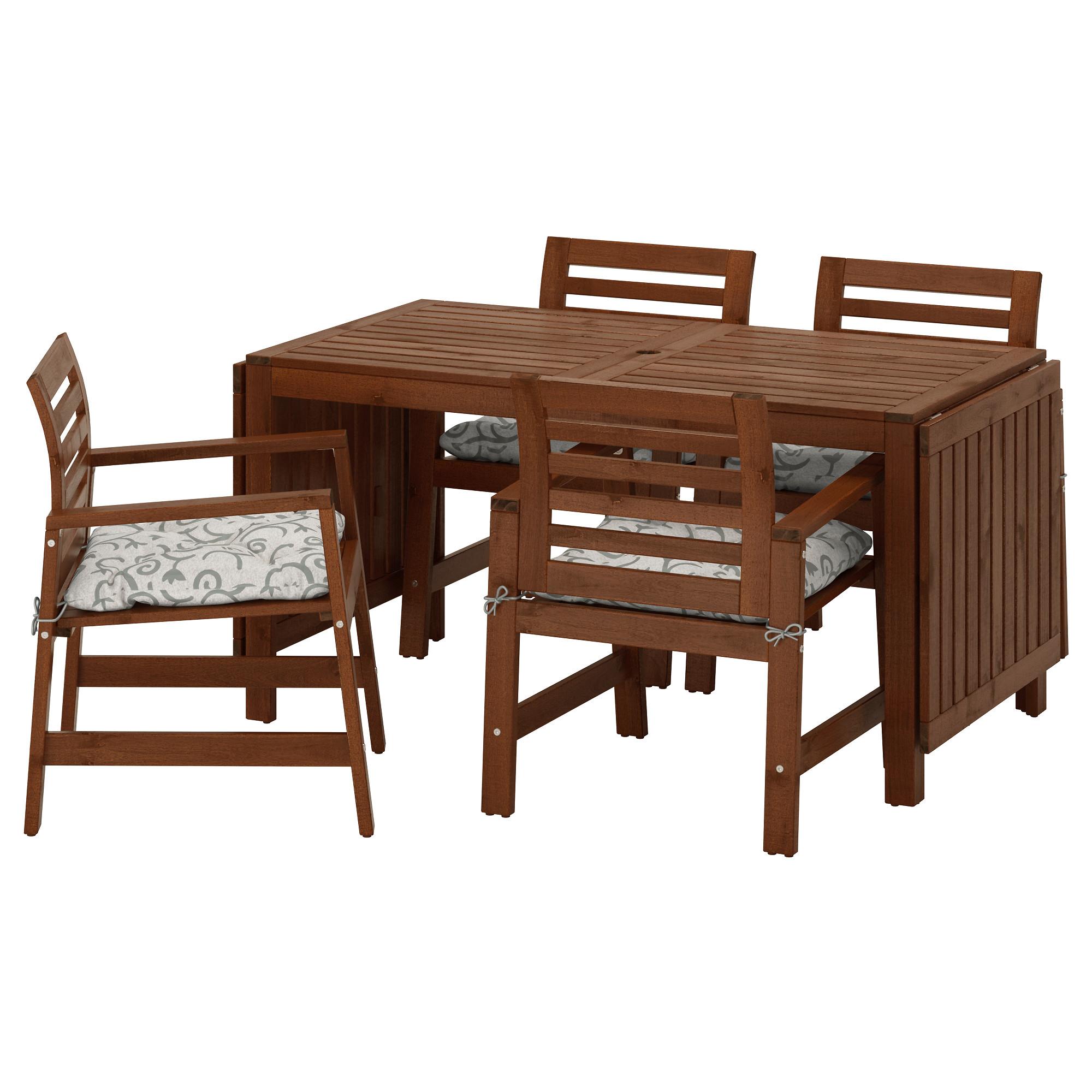 Ikea gartenmöbel äpplarö  ÄPPLARÖ, Tisch+4 Armlehnstühle/außen, braun las., beige Jetzt ...