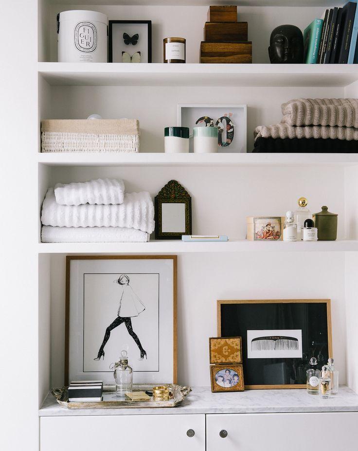 bathroom shelf styling. powder room home decor details.   homely ...