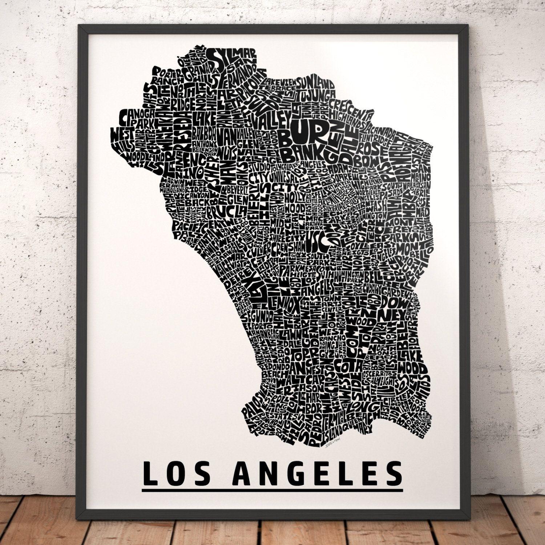Los Angeles Neighborhood Typography City Map Print Etsy Map Art Los Angeles Map Art Original Ink Drawing