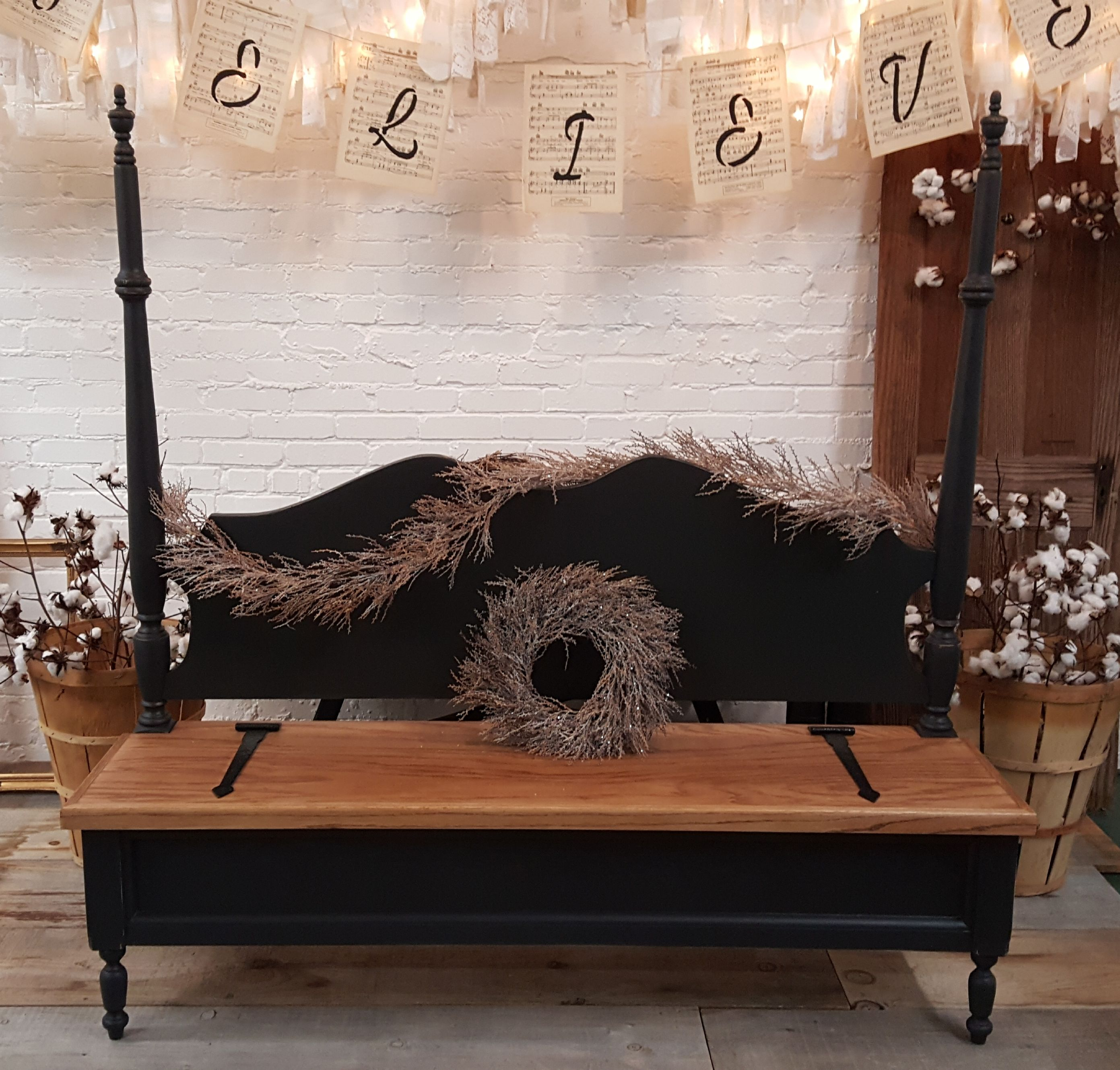 Farmhouse style black bench bench with storage home