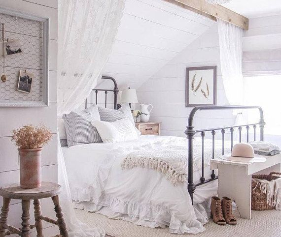 Ruffle linen duvet cover features easy flow ruffles, shabby chic bedding, linen bedding, available i