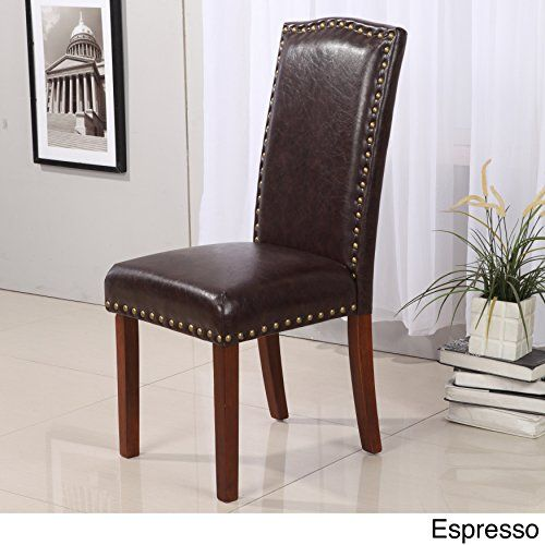 VisionXPro Inc. Royal comfort collection Classic Faux Leather Nailhead Trim Parson Chair (Set of & VisionXPro Inc. Royal comfort collection Classic Faux Leather ...