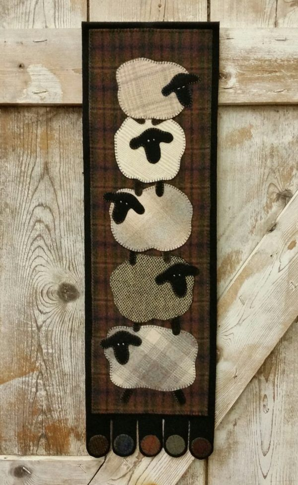 Counting On Ewe ~ 10″ X 33″ ~ by The Woolen Needle. | Sheep ... : wool applique quilt kits - Adamdwight.com