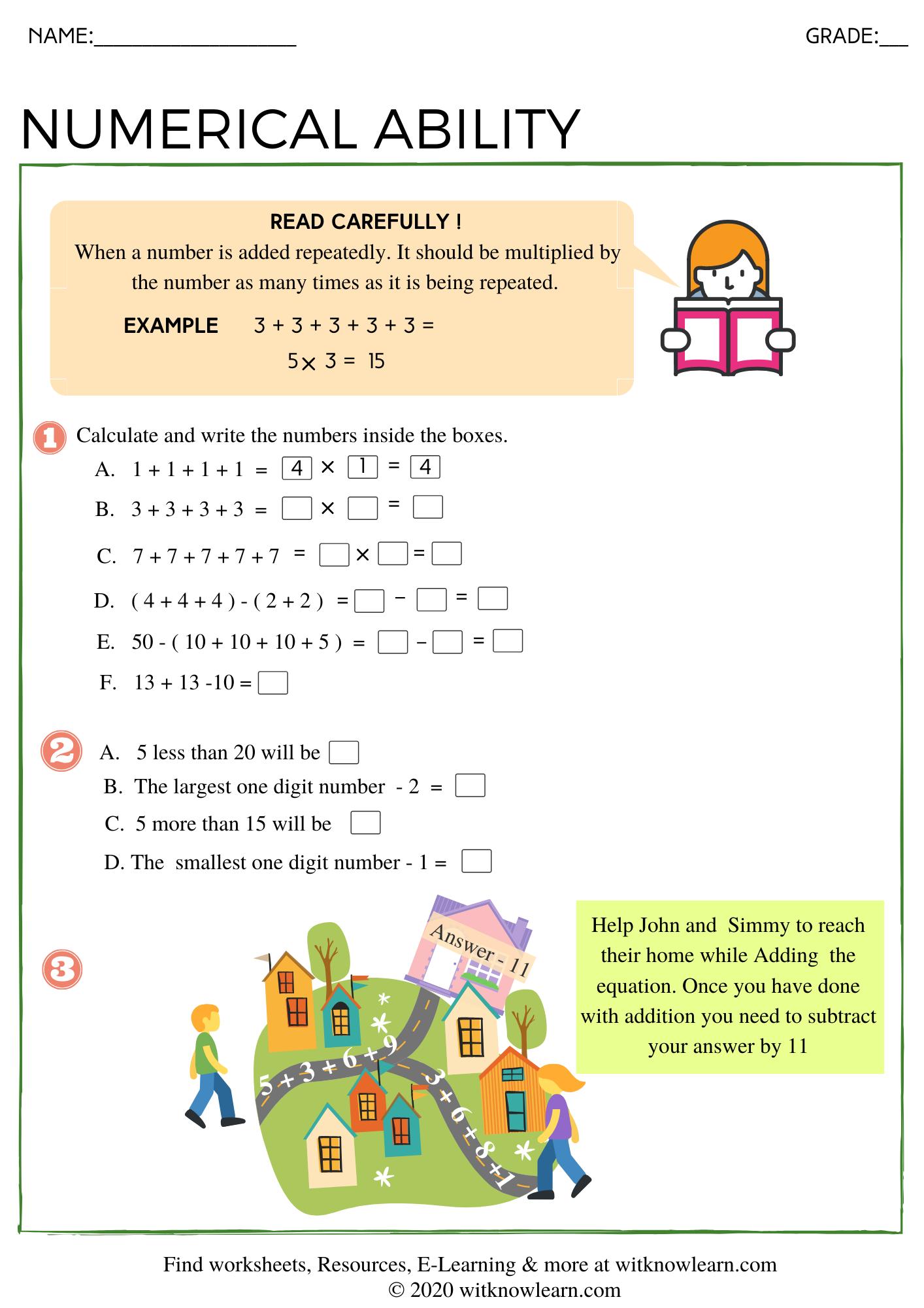 Numerical Ability Worksheet For Grade 1 1st Grade Worksheets Worksheets Printable Worksheets [ 2000 x 1414 Pixel ]