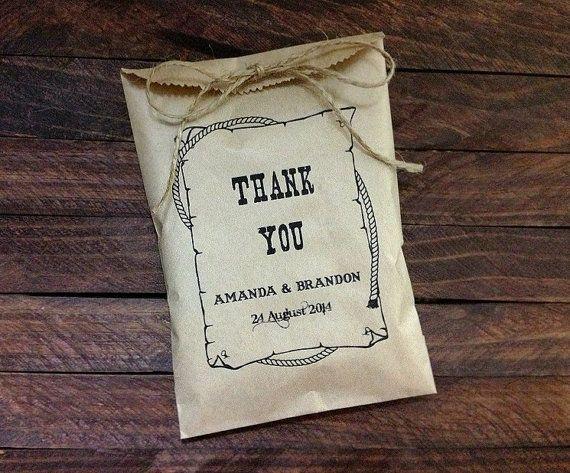 Western Wedding Gift Ideas: Western Style Personalized 20 Wedding Favor Bag