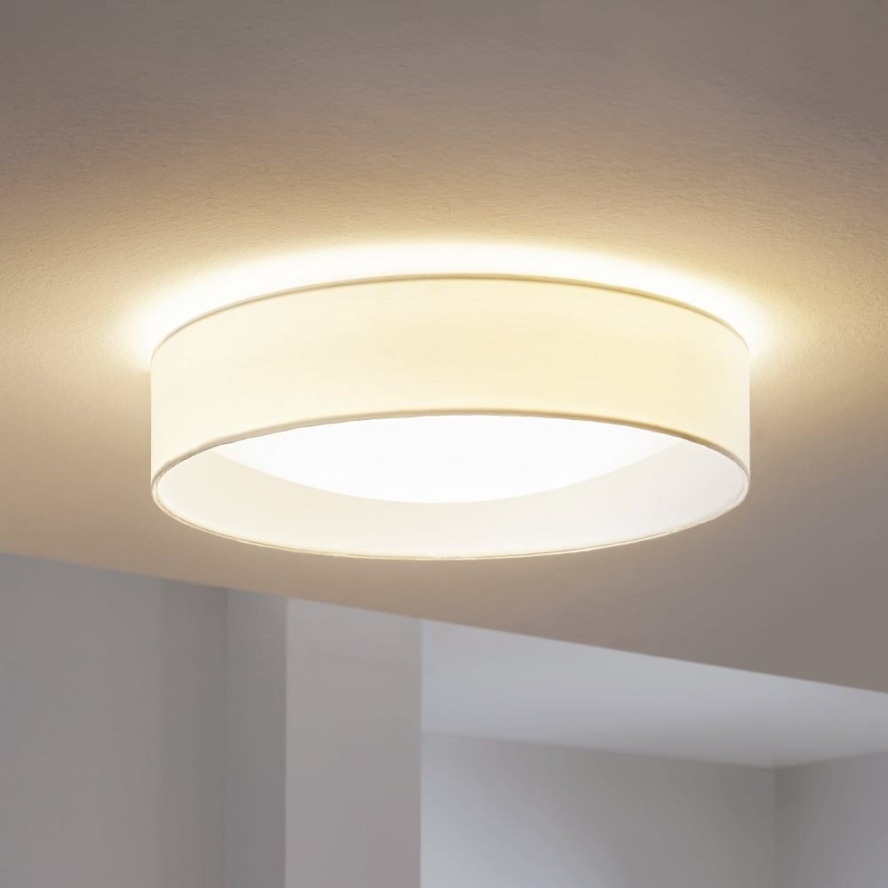 hot sale online a0b77 29a70 Eglo Pasteri LED White Fabric Flush Ceiling Light | Room ...