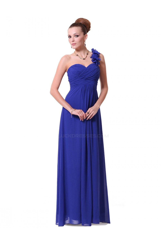 Royal blue long bridesmaid dressesaline oneshoulder