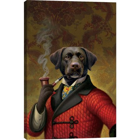 Give your new puppy someone to look up to with this regal canvas print, perfect hung above the mantel or library desk.  Product: