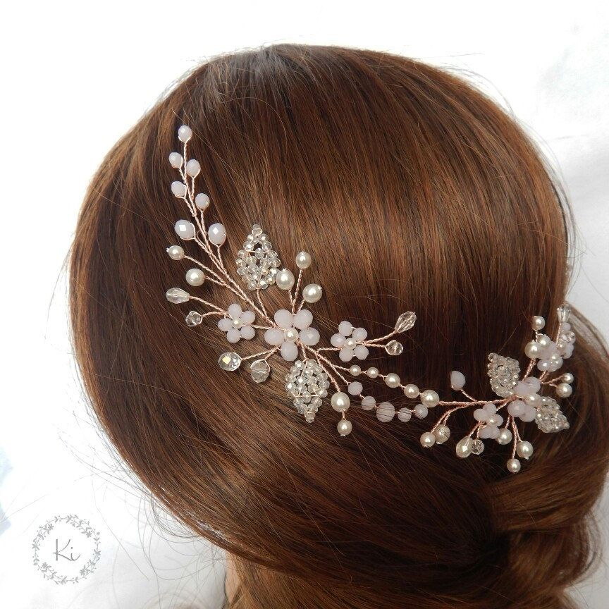 Rose gold hair piece Rose gold floral vine Gold rose hair vine Rose gold headpiece Rose gold wreath Rose hair wreath Bridal rose wreath #bridalhair