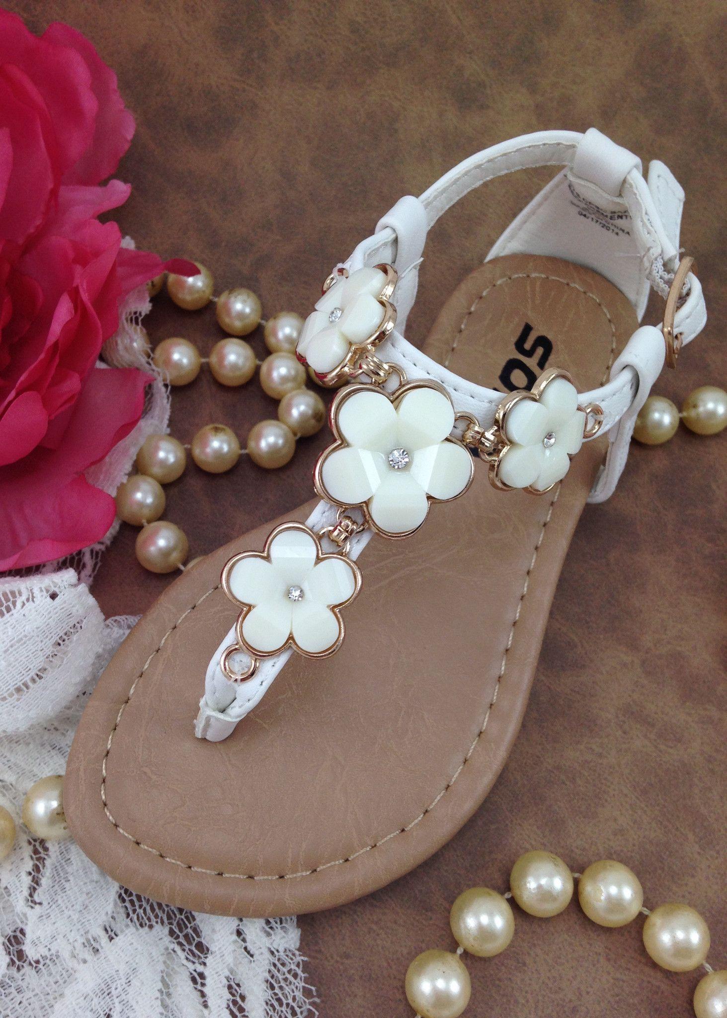 Girls White T-Strap Flower Sandals