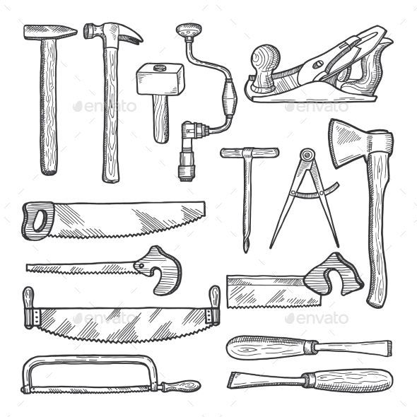 Tools In Carpentry Workshop Vector Hand Drawn Illustration Set Of Tools For Ca Carpentry Workshop How To Draw Hands Woodworking Workshop