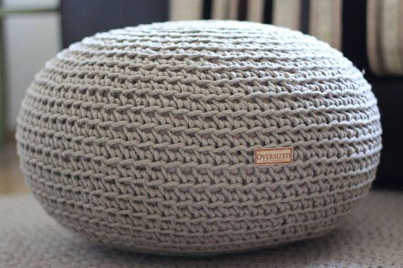 Organic Crochet Pouf Pure Linen Knit Pouf Pouf Ottoman Living