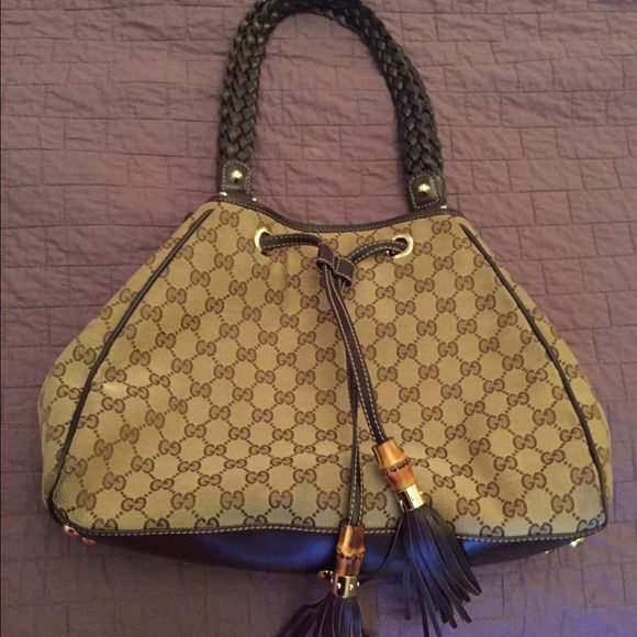 6d65a8ef548 Gucci Monogram Peggy Braided Tote - Brown Colors are brown on beige and  Gucci monogram on
