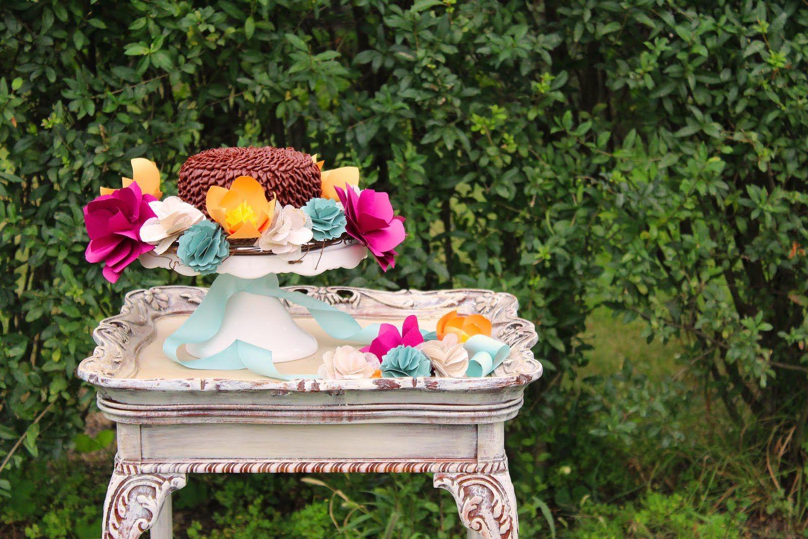 DIY Paper Flower Cake Wreaths