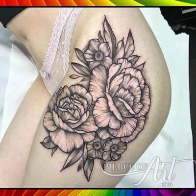 BLACK & GREY ROSES TATTOO