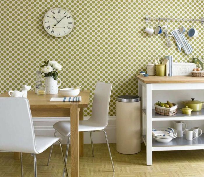 wohnideen küche mit wandtapete grüne punkte peppen das interieur auf - moderne wandgestaltung wohnzimmer lila
