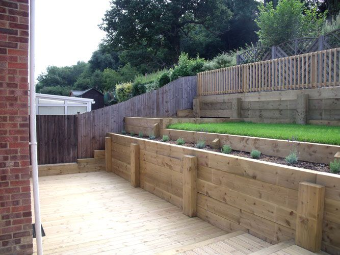 Decking with softwood sleeper retaining walls deck for Garden decking sleepers
