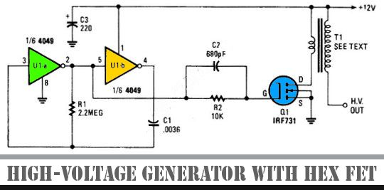 high voltage generator with hex fet other project s pinterest rh pinterest com High Voltage Circuit Diagram DC Voltage Tripler Circuit Diagram