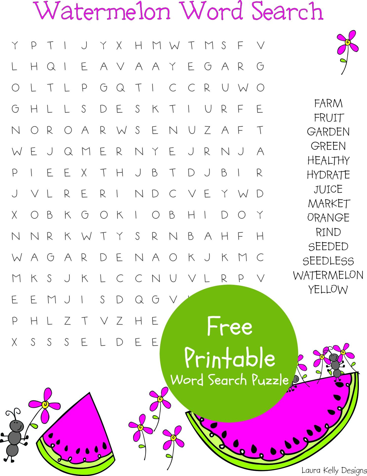 Watermelon Word Search Puzzle Free Printable Free Printables Watermelon Diy Free [ 1927 x 1486 Pixel ]