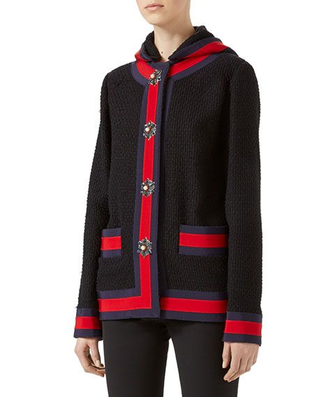 GUCCI Blind For Love Tweed Jacket, Black. #gucci #cloth #