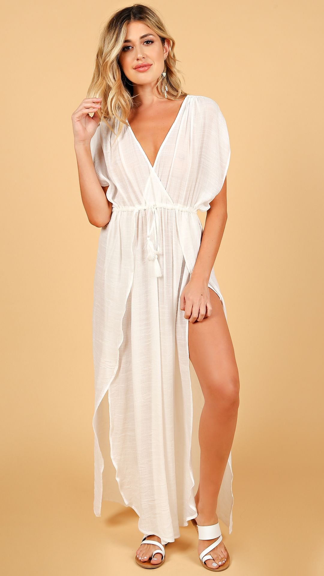 Mykonos Sheer Cover Up Maxi Dress White Sheer maxi
