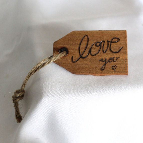 Woodburned Cedar Gift Tag - Love you <3