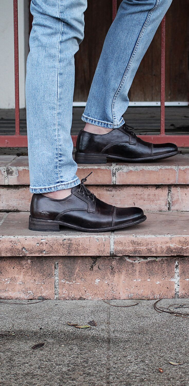 Dark Brown Leather Oxford Style With Cap Toe Hand Crafted By Bedstu Style It With Chinos For Mens Business Casual Shoes Dress Shoes Men Brown Leather Oxfords [ 1500 x 735 Pixel ]