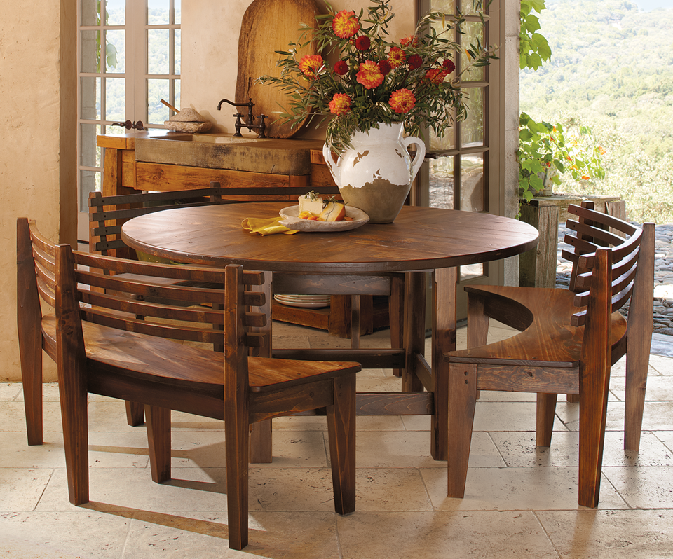 Round Parquet Table & Benches ~ $2,499 at napastyle.com ...
