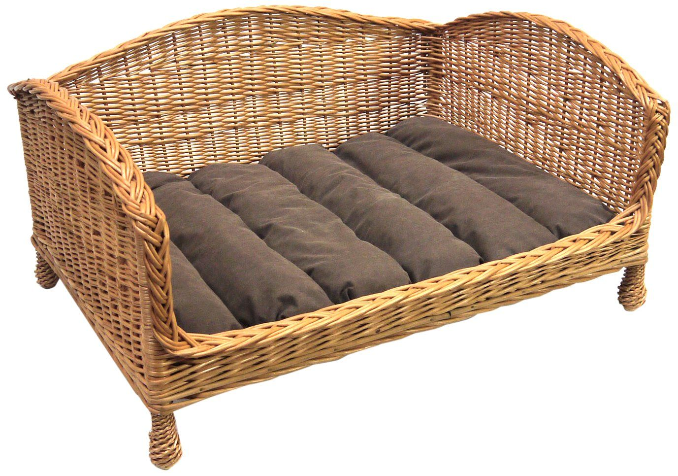 Prestige Wicker Pet Bed Settee with Cushion. Raised to