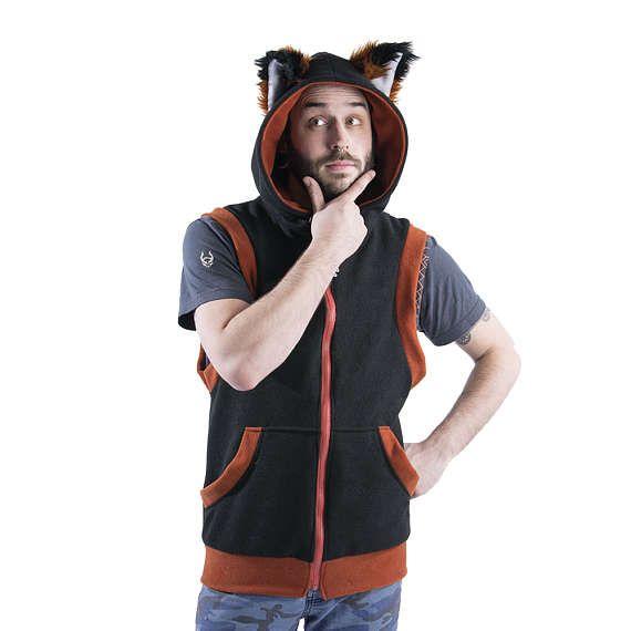 2864092ec671c Pawstar FOX Yip Sleeveless HOODIE - Jacket Coat Cosplay Black Orange Red  Green Blue Purple Pink Brow