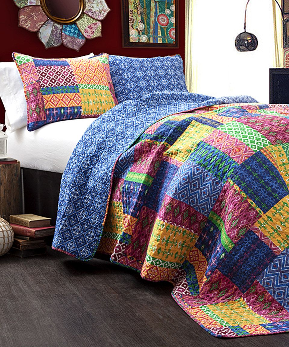 Another great find on zulily Fuchsia u Navy Fremont Quilt Set by