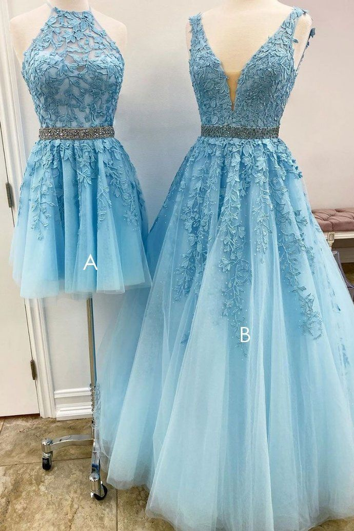 Blue tulle lace A_line prom dress blue lace tulle formal dress ML1504
