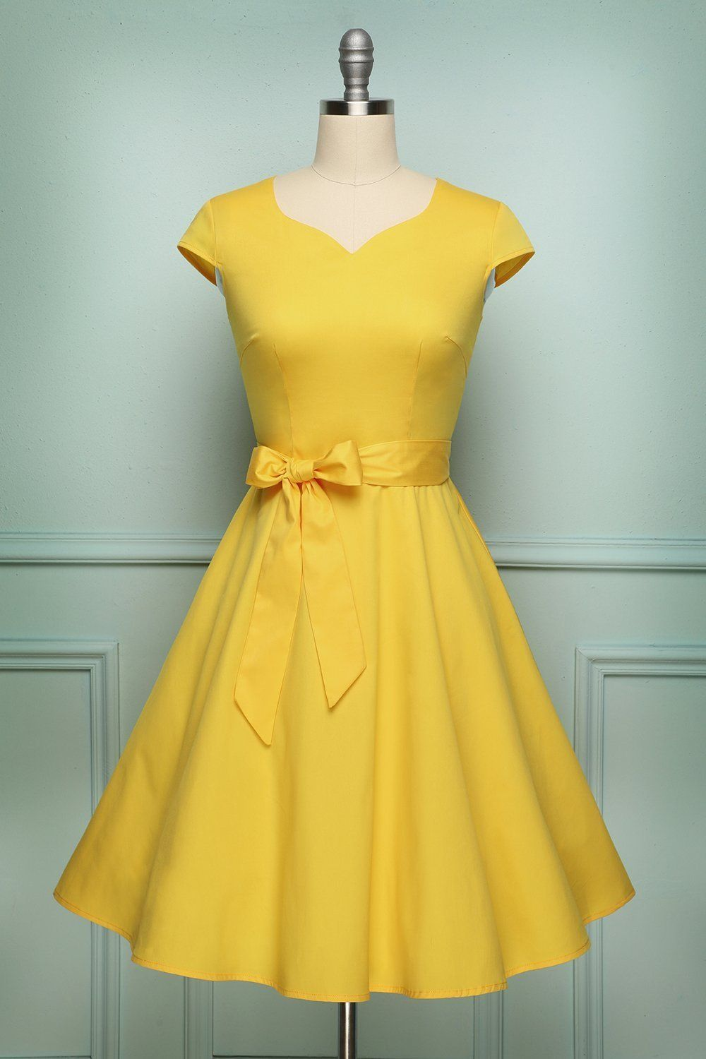 Solid Vintage 1950s Dress Yellow Vintage Dress Yellow Swing Dress Party Dresses With Sleeves [ 1500 x 1000 Pixel ]