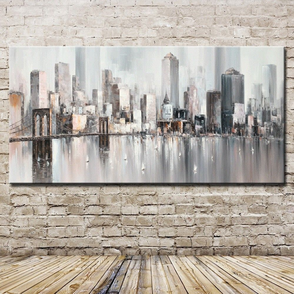 Abstract Big City Buildings 100 Hand Painted Oil Painting On Canvas Handmade Wall Art Pictures For Living Room Home Decor New York Painting Abstract Wall Art Abstract City