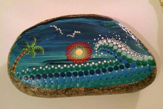 "Hand Painted Stone ""Solo Wave"" Painted Rocks_Dot Art_Coastal Art_ Beach Decor"