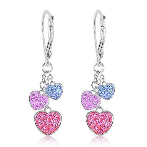 Heart shaped earrings silver Heart earrings hoops Crystal hearts earrings silver Little love gift Crystal earrings Silver hearts dangles