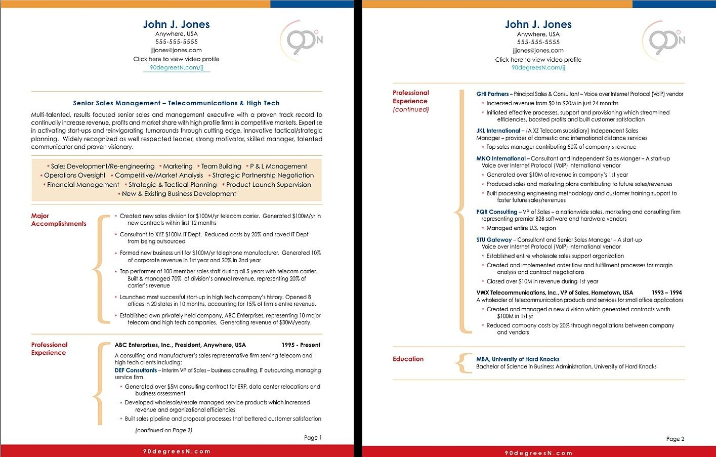 Professional 2 Page Resume Examples Sample resume