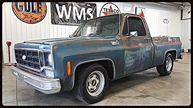 77 green patina chevy gmc pickup truck rat rod square body short bed lowered wms for sale in. Black Bedroom Furniture Sets. Home Design Ideas