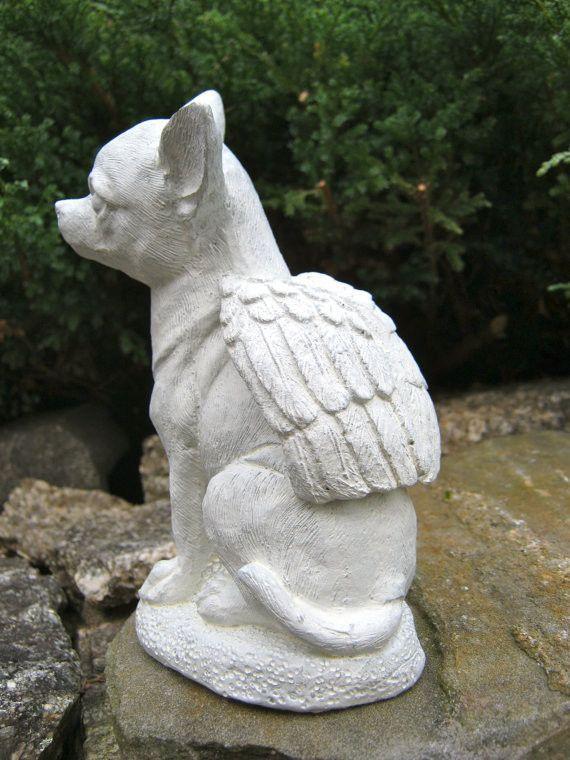 Genial Chihuahua Dog Angel   White Concrete Garden Statue